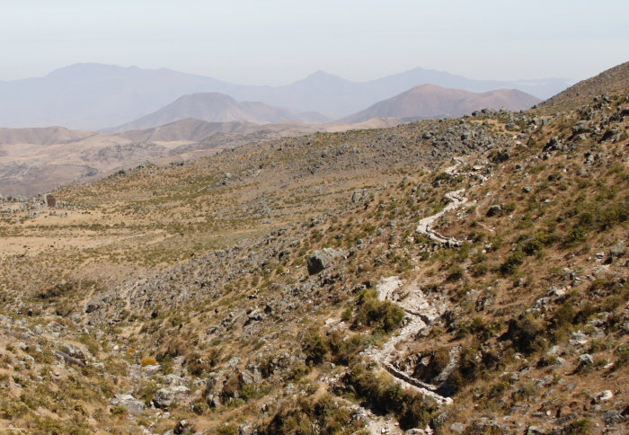 Photo of dry Andean mountains and winding canals