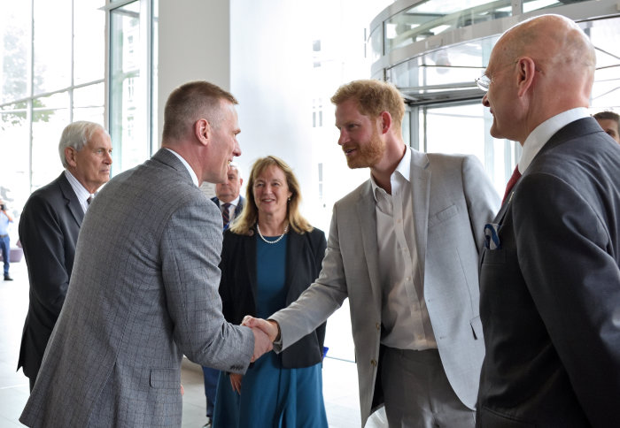 CBIS Director Anthony Bull, Imperial President Alice Gast, Provost Ian Walmsley, and The Lord Boyce welcome Prince Harry to the conference