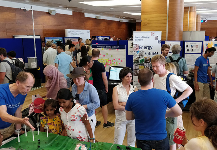 Visitors and volunteers on the Energy Futures Lab stand at the Great Exhibition Road Festival
