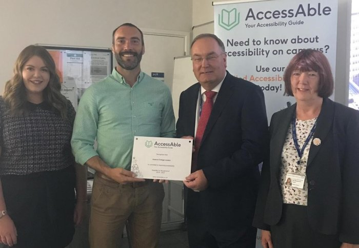 Amy & David from AccessAble with Nick Roalfe and Maggie Taylor from Estates Operations and a new plaque to mark our commitment to the scheme