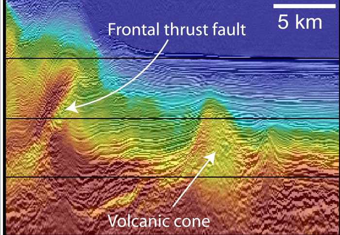 Ultrasound images of the subduction zone after 2D waveform inversion was used, showing the zone in much finer detail.