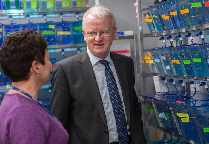 Professor James Stirling in the animal research lab