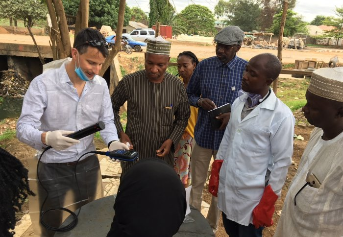 Professor Nicholas Grassly and colleagues in Nigeria during a study to detect poliovirus in sewage