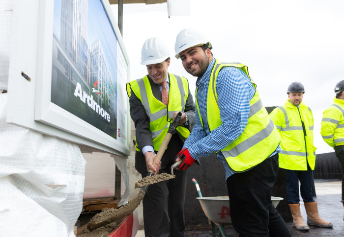 Shervin Sabeghi, Imperial College Union's Deputy President (Welfare), and Muir Sanderson, the College's Chief Financial Officer at the topping out ceremony