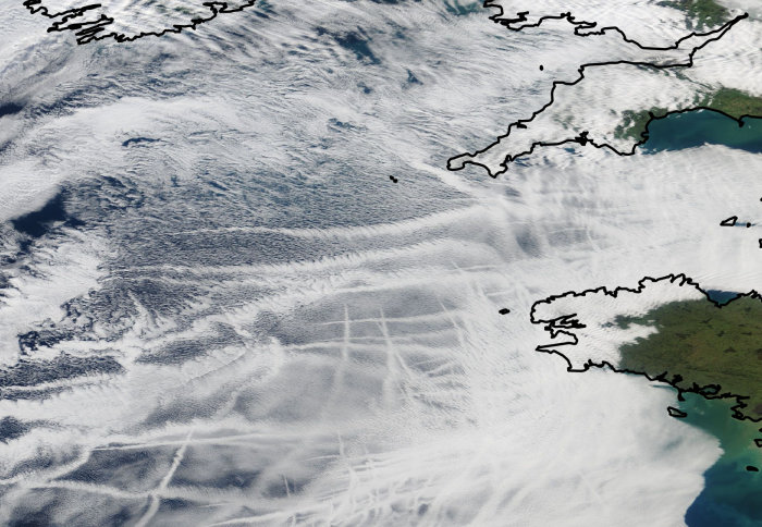 Satellites images of streaky clouds off the coast of Cornwall