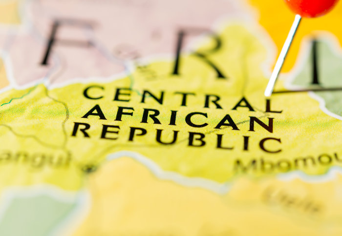 Central African Republic on the map