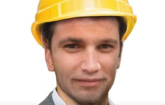 The average face of engineers represented on search engines, which looks male and caucasian with a hard hat