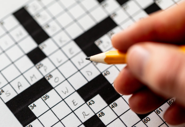 Completing a crossword puzzle