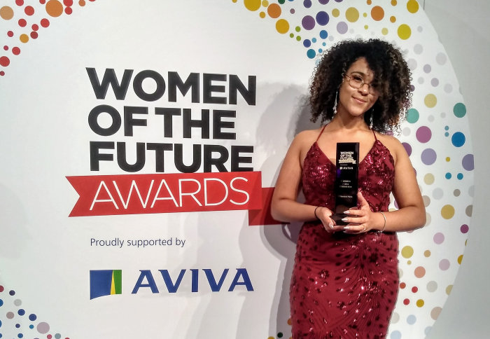 Vanessa Madu with her award at the gala dinner ceremony