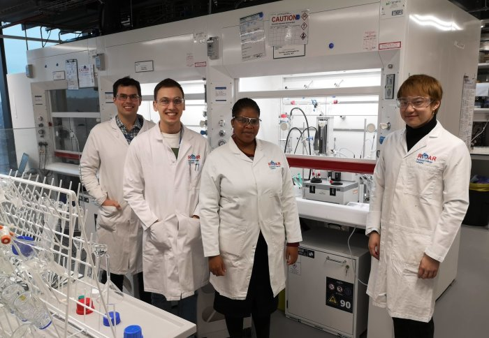 Project team members in the ROAR lab (l-r): Dr Ben Deadman, Roddy Stark, Valerie Maswanganyi and Simeng Wang