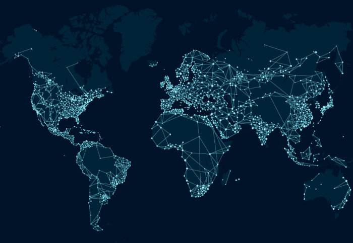 Digitally connected globe map