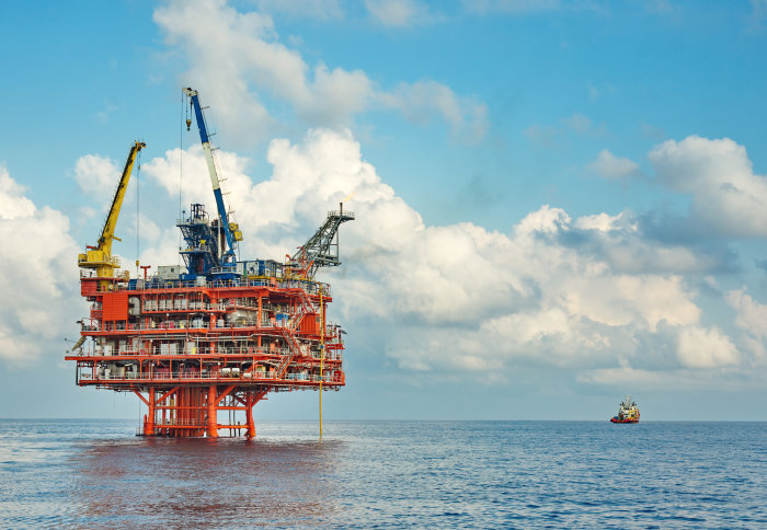 A photo of an offshore oil rig