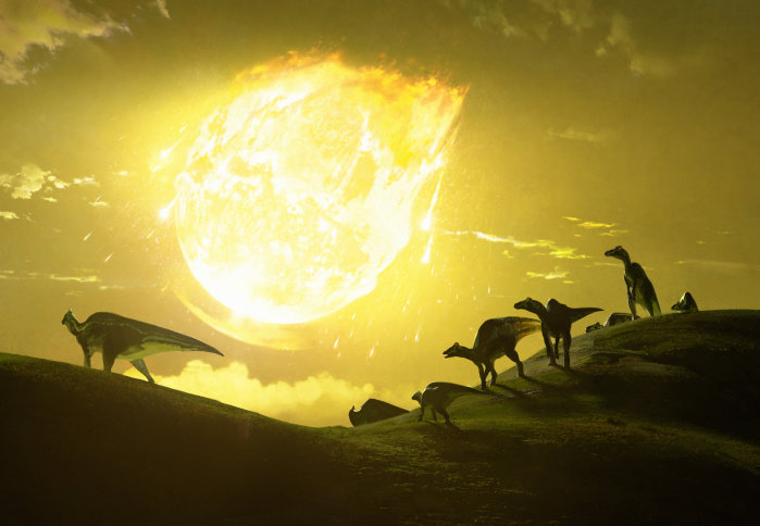 Original artwork depicting the moment the asteroid struck in present-day Mexico. Shown are the asteroid in the background and silhouetted dinosaurs in the foreground.