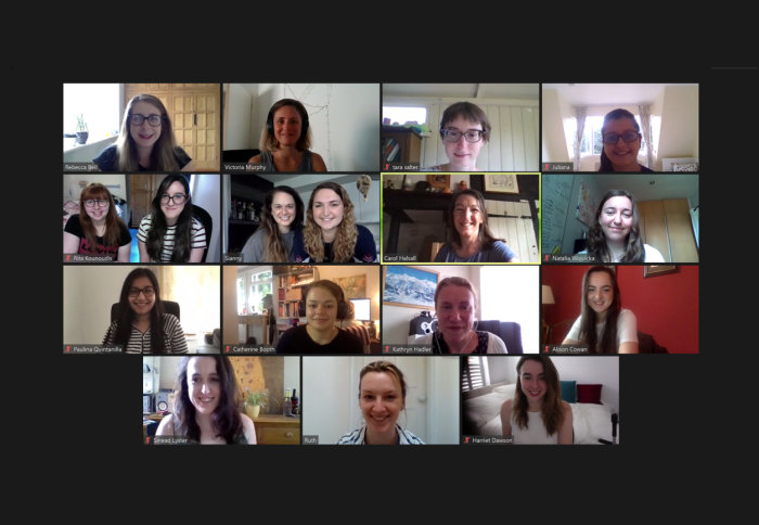 Women in the Department of Earth Sciences on zoom call