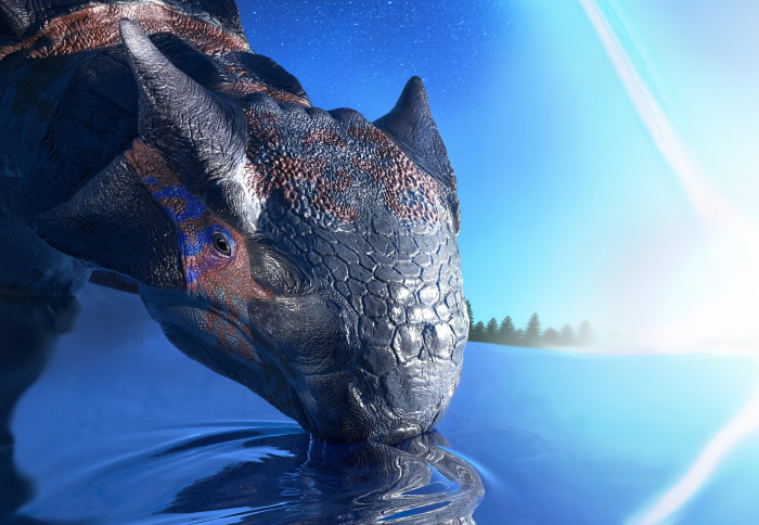 Dinosaur drinking with an asteroid in the background