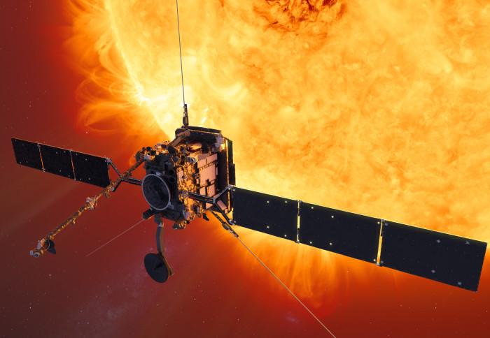 An illustration of the solar orbiter in orbit around the Sun