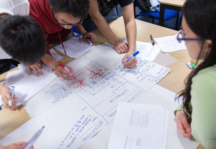 Undergraduate maths students solving a problem