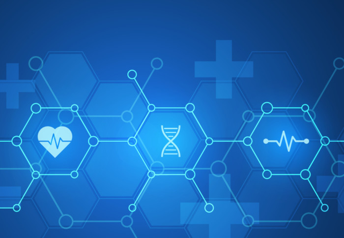 Abstract blue medical data background