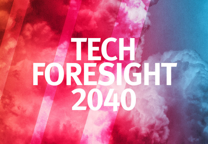 The Tech Foresight logo on a multicoloured background