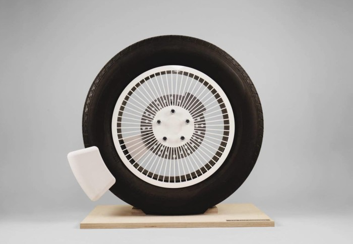 A tyre rigged with the Tyre Collective's device