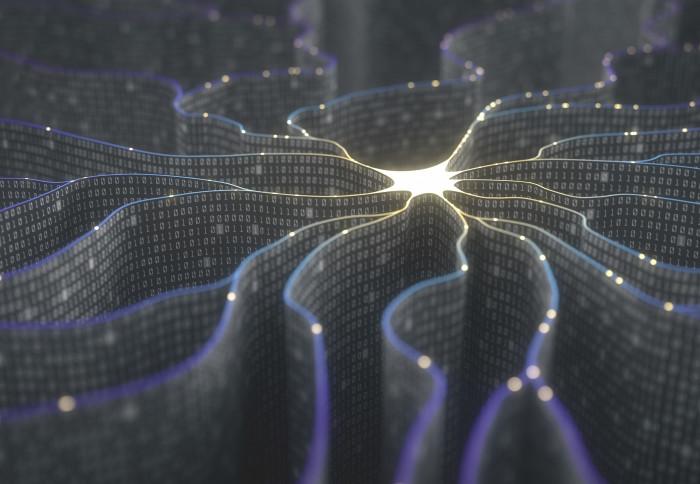3D illustration of an artificial neuron