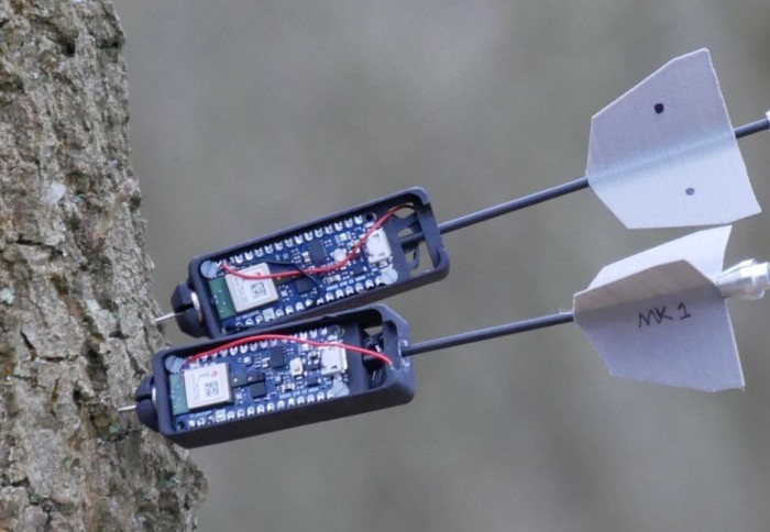 Dart attached to tree trunk with sensor.