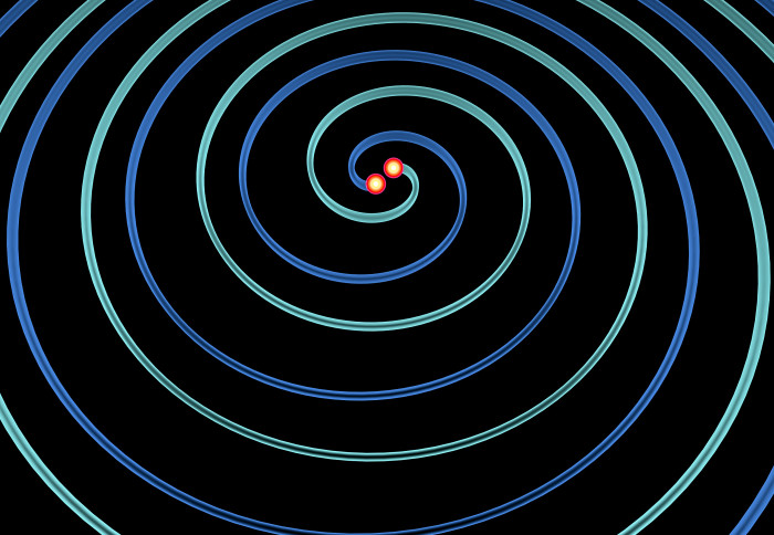 Illustration of two objects merging, creating gravitational waves