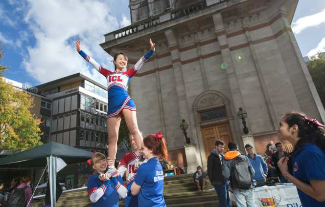 Cheerleaders at the Freshers' Fair