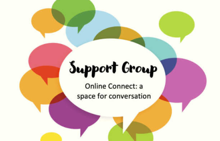 conversation bubbles with text: Support group, online connect, a space for conversation