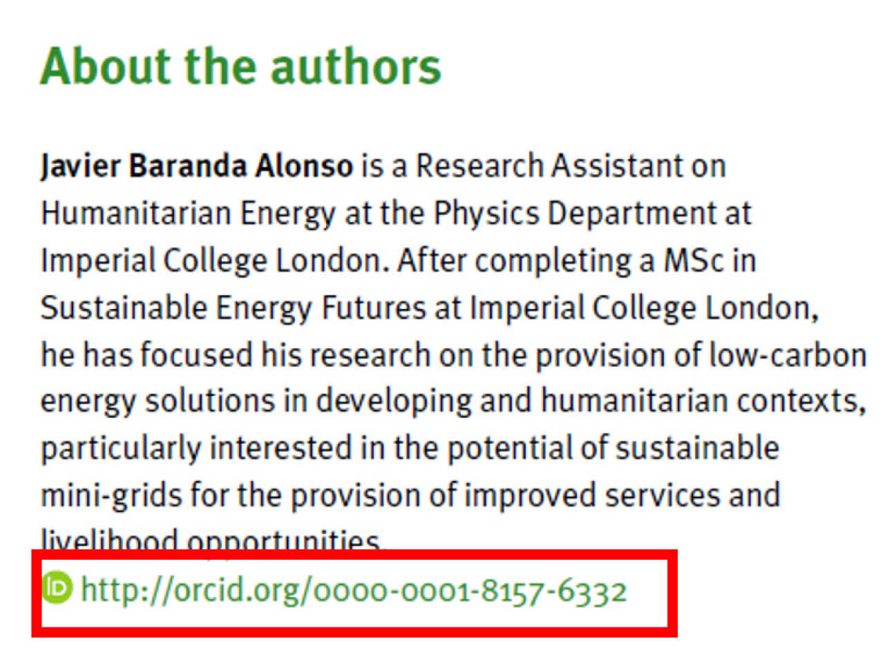 About the authors section with ORCID id link highlighted