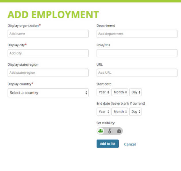 Screen image showing Employment