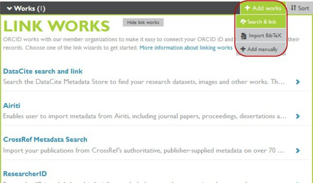 ORCID screen image