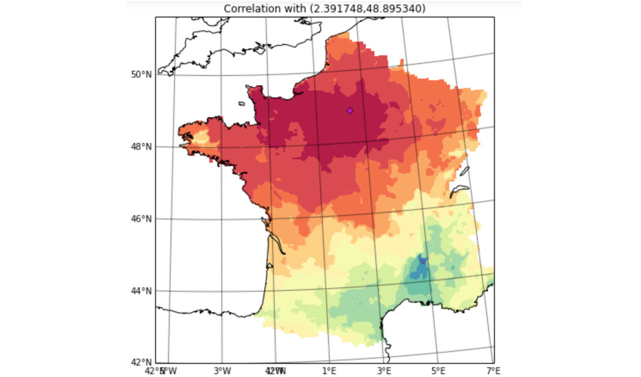 The graph shows the correlation between the wind speed observed in different parts of France and the wind speed observed in Paris 6 hours later. It illustrates the importance of precise multidimensional modelling of wind speed field for precise forecasting of wind power generation.