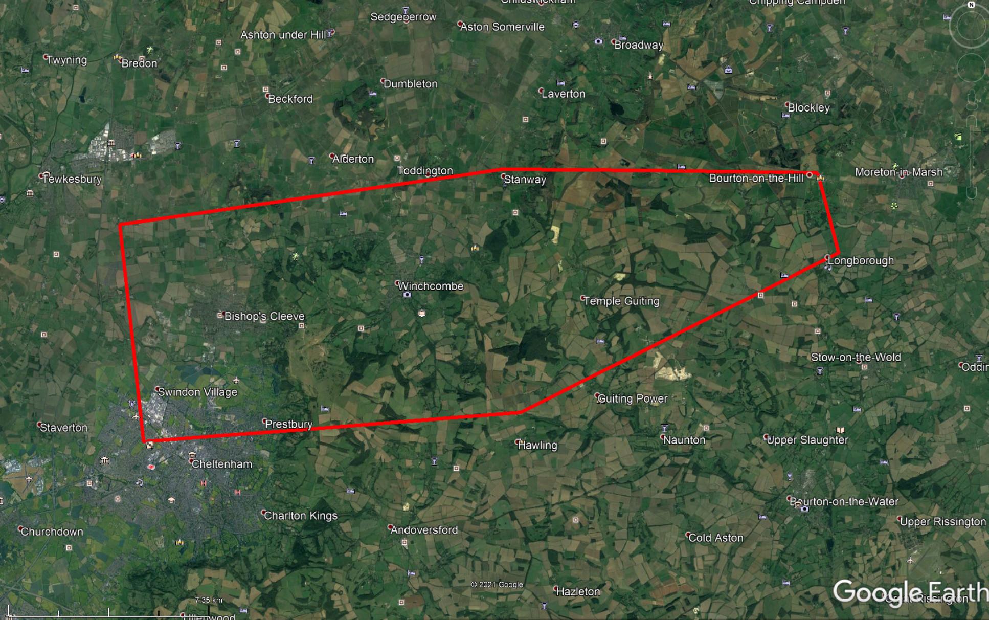Map of preliminary location of strewn debris