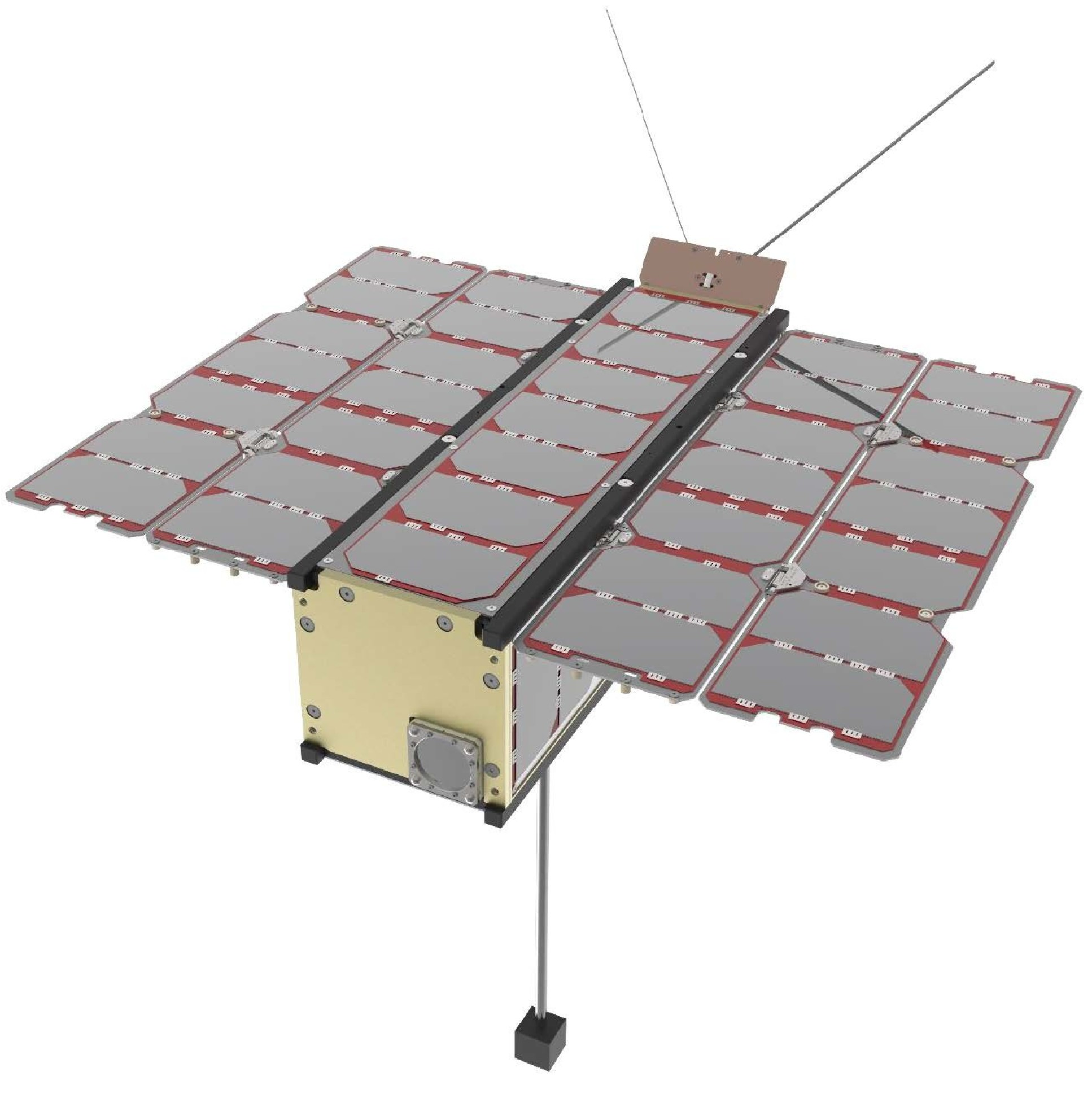 Illustration of a rectangular spacecraft with folded-out solar panels and a boom at the bottom