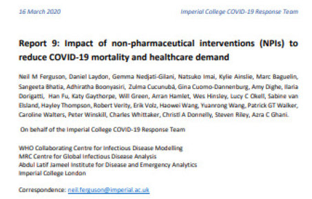 front page from the Report 9: Impact of a non-pharmaceutical interventions (NPIs) to reduce COVID-19 mortality and healthcare demand. With authors names included and funders and correspondence email