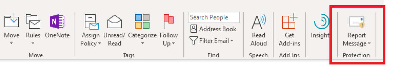 Report message button in Outlook