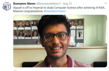 Tweet from Brampton Manor