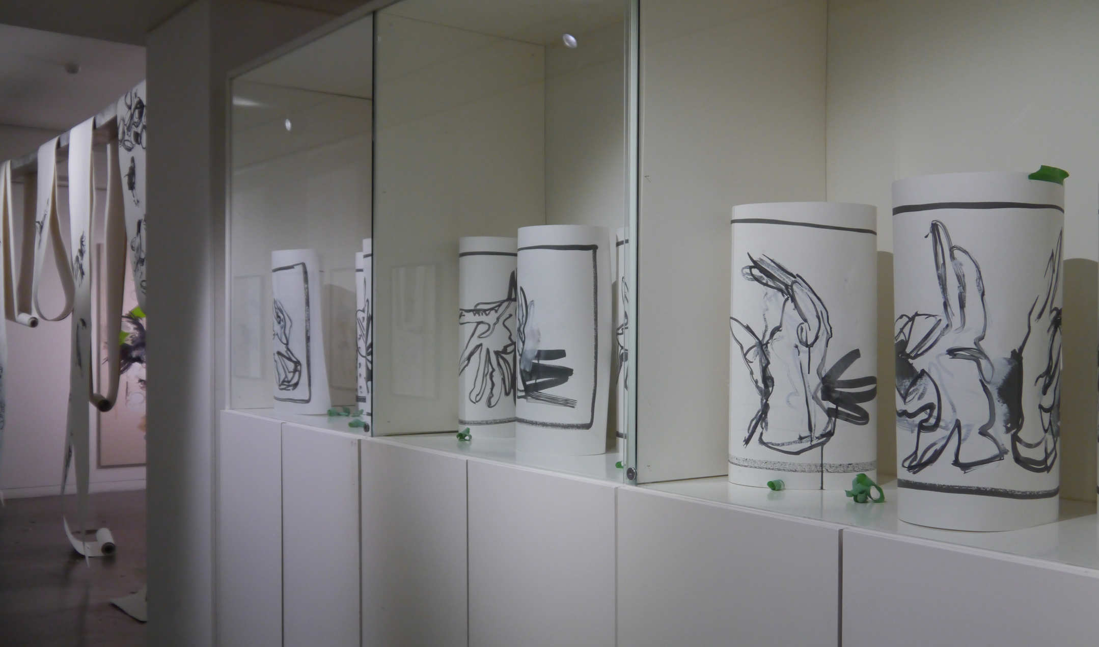 Sue Sluglett drawings in cabinet