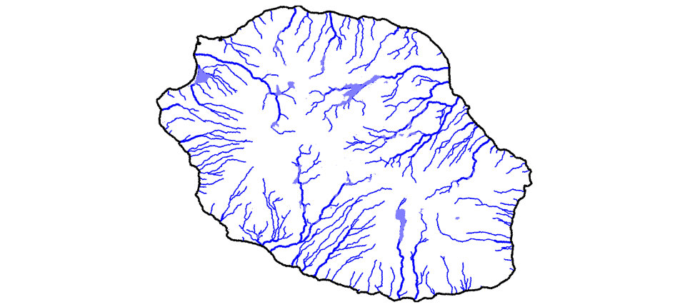 Modeling lakes and rivers on Reunion Island using a quasi-variational  approach