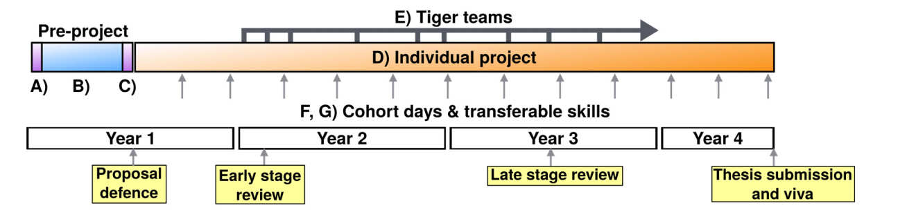 Timeline for PhD research and training activities