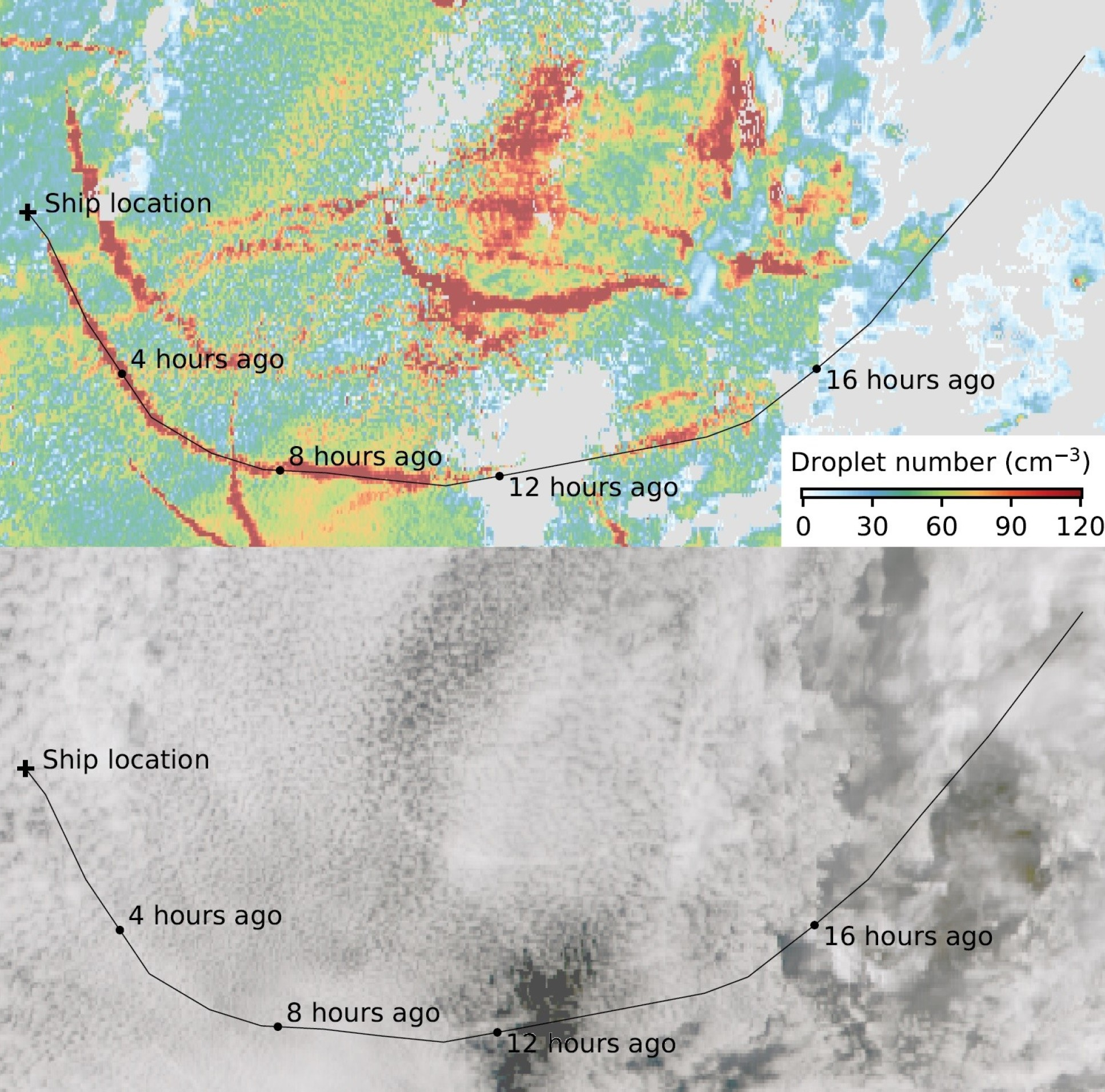 False-colour image (top) and black-and-white photo (bottom) of an area of cloud with ship tracks. The route of one ship is shown