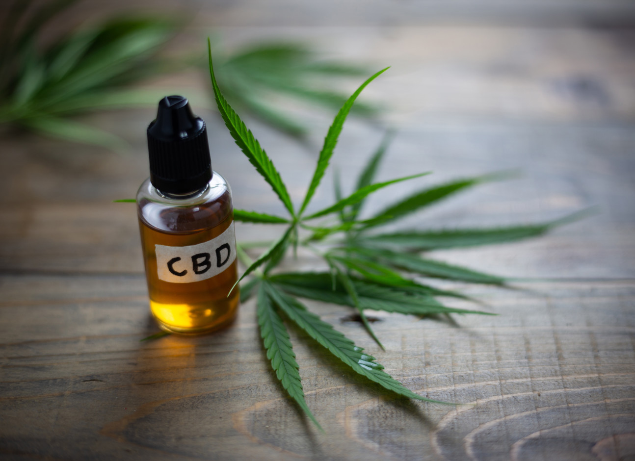 Small jar of oil marked 'CBD' next to cannabis leaf