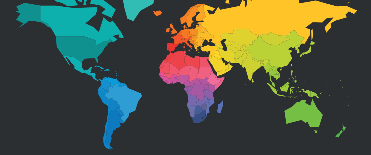 A map with the continents in different colours