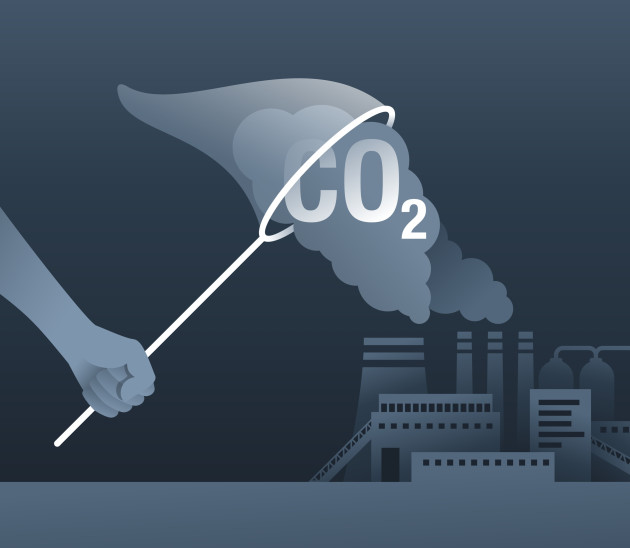Illustration showing a net capturing carbon from a power plant