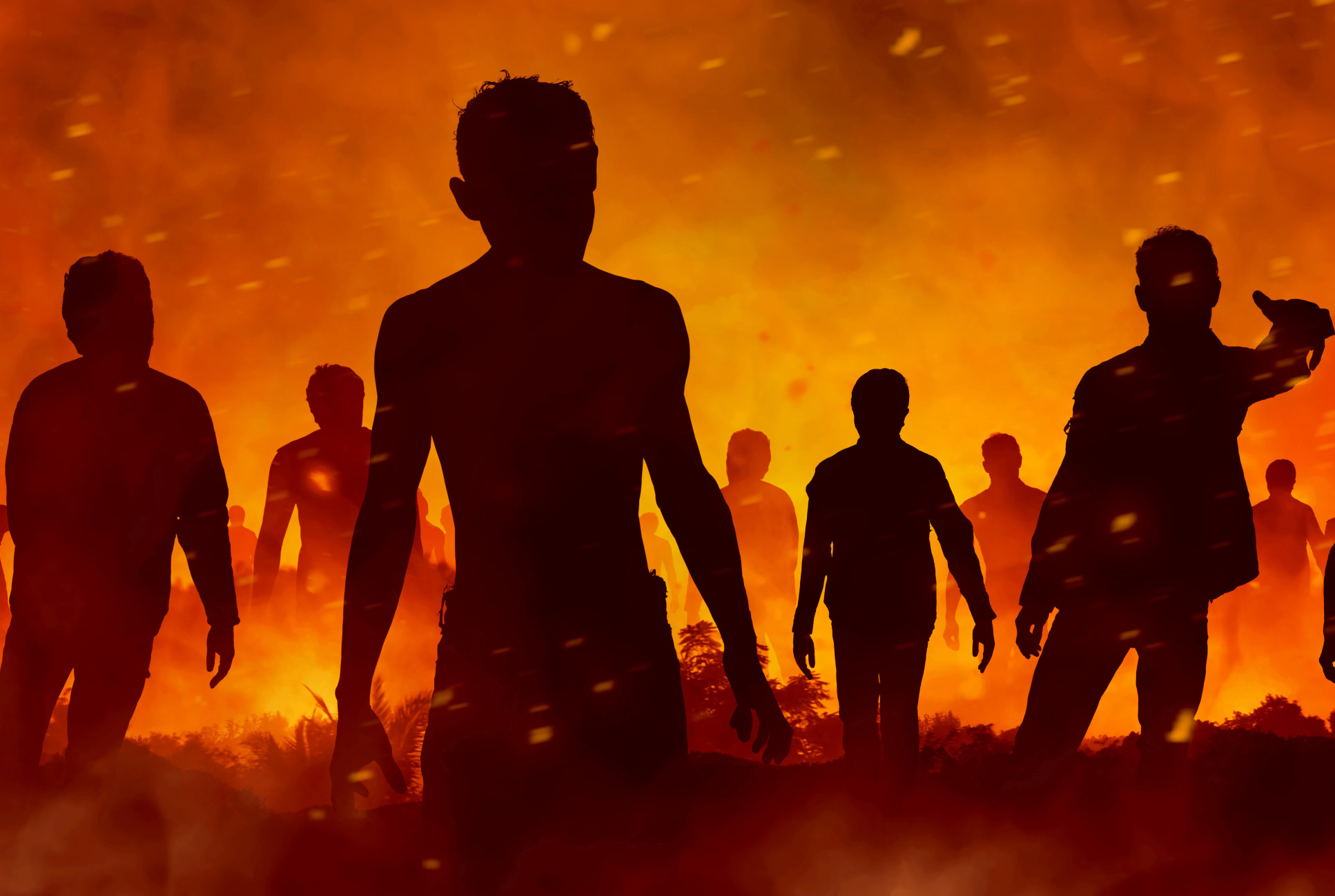 Zombies in silhouette against a firey backdrop