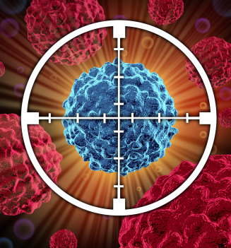 3D rendering of a target aiming at the cancerous cell.