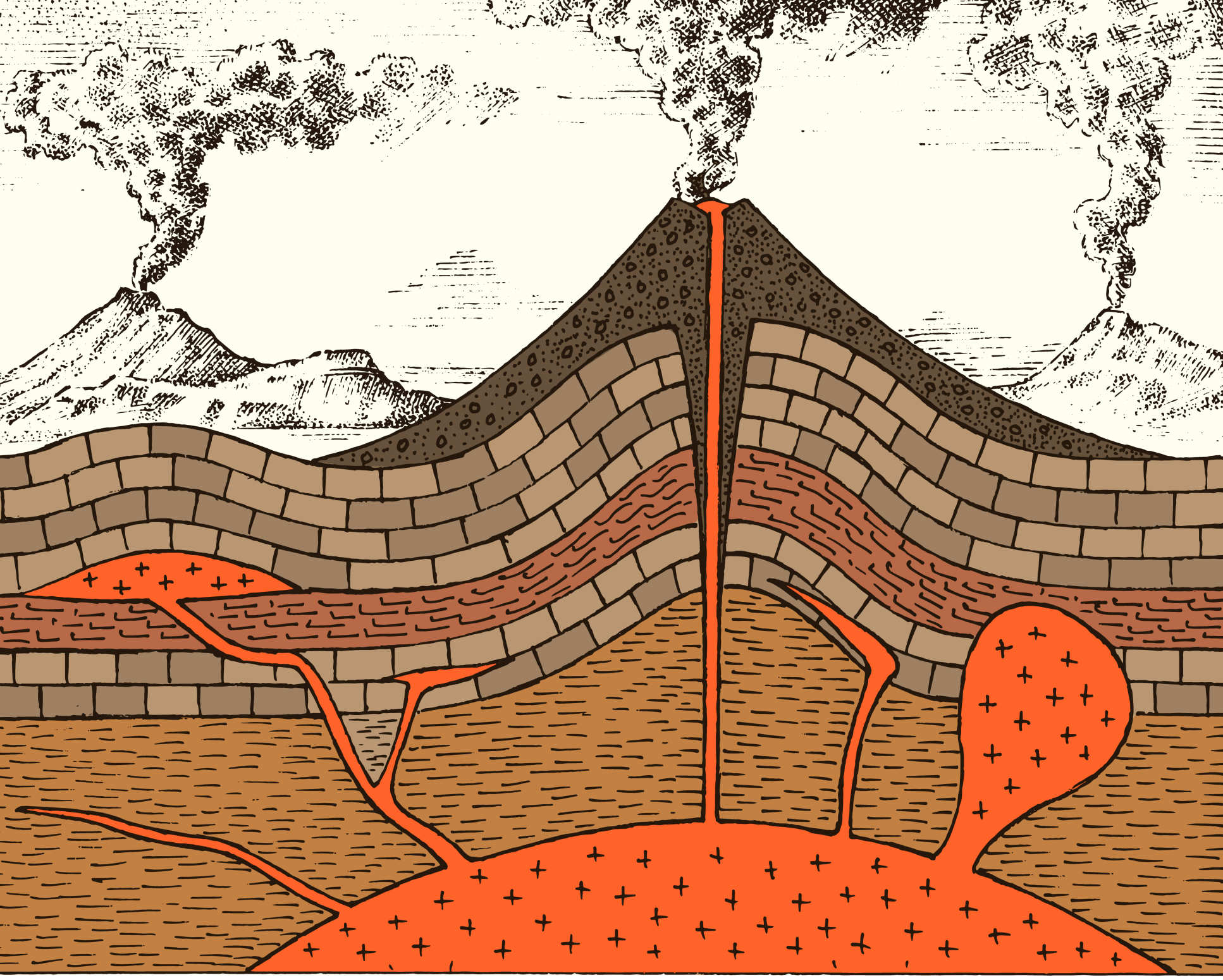Illustration of a magma chamber below a volcano