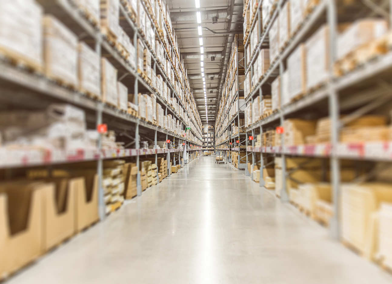 A view inside a warehouse