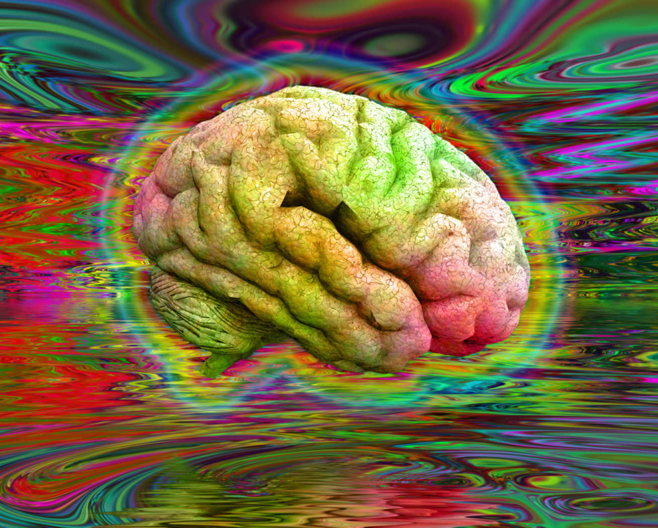Concept image of brain on psychedelics